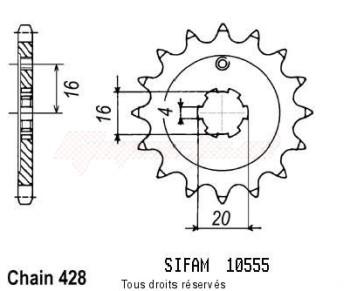 Product image: Sifam - 10555CZ14 - Sprocket Kawasaki 80 Kx 1991-2001 10555cz   14 teeth   TYPE : 428