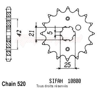 Product image: Sifam - 10800CZ17 - Sprocket Rd 350 Lc Ypvs 83-85   10800cz   17 teeth   TYPE : 520
