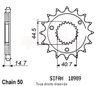 Product image: Sifam - 10989CZ21 - Sprocket Harley Xlh 883/1200 Spo   10989cz   21 teeth   TYPE : 530