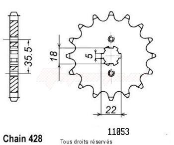 Product image: Sifam - 11053CZ14 - Sprocket Yamaha Tw 125 99   11053cz   14 teeth   TYPE : 428