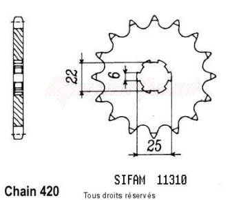 Product image: Sifam - 11310CZ15 - Sprocket Mtx 50 83-85   11310cz   15 teeth   TYPE : 420