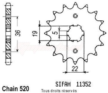 Product image: Sifam - 11352CZ13 - Sprocket Honda Trx 300 Ex 93-98 Axr 300 Sp 11352cz   13 teeth   TYPE : 520