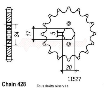 Product image: Sifam - 11527CZ15 - Sprocket Cbr 125 04-   11527cz   15 teeth   TYPE : 428