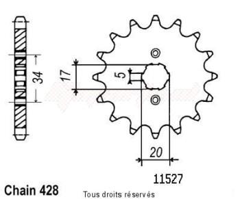 Product image: Sifam - 11527CZ16 - Sprocket Xlr 125 R 98   11527cz   16 teeth   TYPE : 428