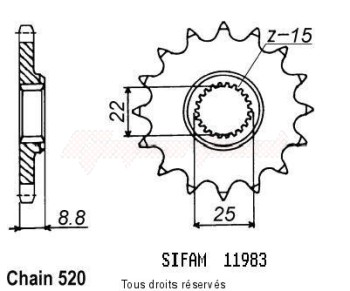 Product image: Sifam - 11983CZ12 - Sprocket KTM Tous Modeles 2t 1984-2004 11983cz   12 teeth   TYPE : 520