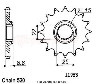 Product image: Sifam - 11983CZ13 - Sprocket KTM Tous Modeles 2t 1984-2004 11983cz   13 teeth   TYPE : 520