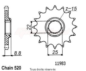 Product image: Sifam - 11983CZ14 - Sprocket KTM Tous Modeles 2t 1984-2004 11983cz   14 teeth   TYPE : 520