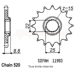 Product image: Sifam - 11983CZ15 - Sprocket KTM Tous Modeles 2t 1984-2004 11983cz   15 teeth   TYPE : 520