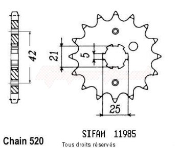 Product image: Sifam - 11985CZ15 - Sprocket Sr 250 91-98   11985cz   15 teeth   TYPE : 520