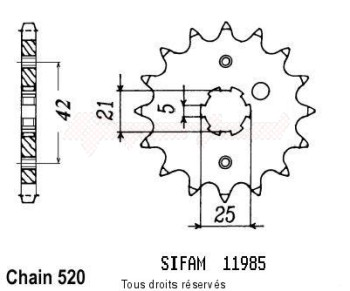 Product image: Sifam - 11985CZ16 - Sprocket Sr 250 91-98 Xv 250 Virago 89-98 11985cz   16 teeth   TYPE : 520