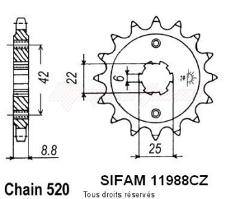 Product image: Sifam - 11988CZ16 - Sprocket Cb 400 N 81-82   11988cz   16 teeth   TYPE : 0