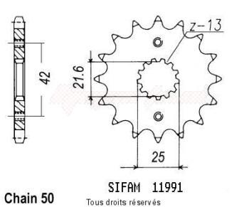 Product image: Sifam - 11991CZ16 - Sprocket Gpz 550 Unitrack 84-86   11991cz   16 teeth   TYPE : 530