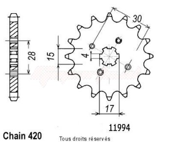 Product image: Sifam - 11994CZ14 - Sprocket St 70 Dax 79-09 Z 50 Monkey 80-85 11994cz   14 teeth   TYPE : 420