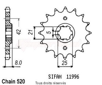 Product image: Sifam - 11996CZ14 - Sprocket Tt 600 82-92 Kawa 250/00 Kx 84-86 11996cz   14 teeth   TYPE : 520