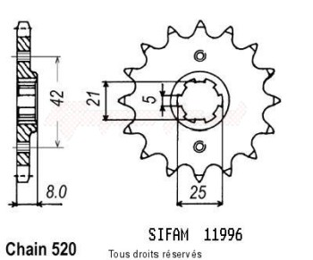 Product image: Sifam - 11996CZ15 - Sprocket Srx 600 86-94 Xt 600 83-86 11996cz   15 teeth   TYPE : 520