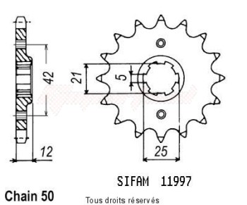 Product image: Sifam - 11997CZ16 - Sprocket Fz 600 86-88 Xs 400 D 82-88 11997cz   16 teeth   TYPE : 530
