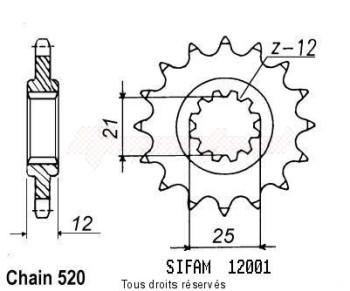 Product image: Sifam - 12001CZ13 - Sprocket Husaberg/Hva 125 Wr 1984-1990 12001cz   13 teeth   TYPE : 520