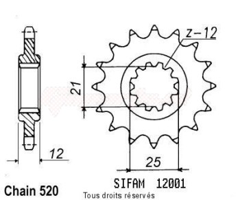 Product image: Sifam - 12001CZ14 - Sprocket Husaberg/Hva 125 Wr 1984-1990 12001cz   14 teeth   TYPE : 520