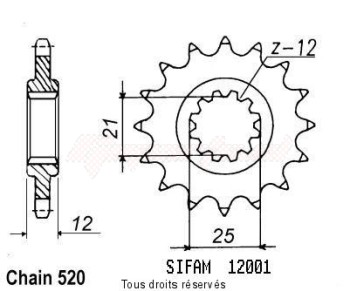 Product image: Sifam - 12001CZ15 - Sprocket Husaberg/Hva Husqvarna 400 Wr 86-87 12001cz   15 teeth   TYPE : 520