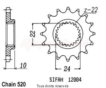 Product image: Sifam - 12004CZ15 - Sprocket 125 Etx Tuareg 86-87   12004cz   15 teeth   TYPE : 520