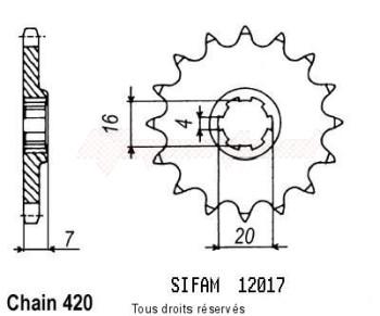 Product image: Sifam - 12017CZ11 - Sprocket Suzuki 50 Rmx/Smx -02   12017cz   11 teeth   TYPE : 420