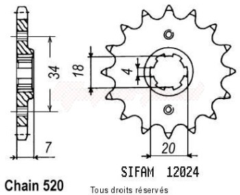 Product image: Sifam - 12024CZ12 - Sprocket Mtx 125 R 83-94   12024cz   12 teeth   TYPE : 520