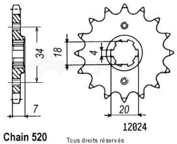 Product image: Sifam - 12024CZ14 - Sprocket Nsr 125 Tc01 87-89   12024cz   14 teeth   TYPE : 520