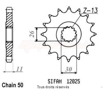 Product image: Sifam - 12025CZ15 - Sprocket Rd 500 Lc 84-87   12025cz   15 teeth   TYPE : 530