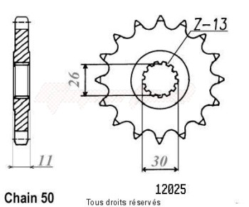 Product image: Sifam - 12025CZ16 - Sprocket Yzf 1000 R1 98-99   12025cz   16 teeth   TYPE : 530
