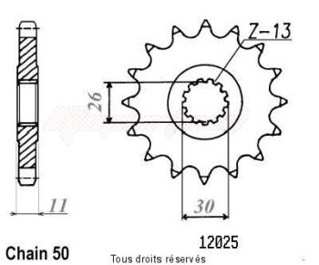 Product image: Sifam - 12025CZ17 - Sprocket Fj 1100 84-95 Fj 1200 86-96 12025cz   17 teeth   TYPE : 530