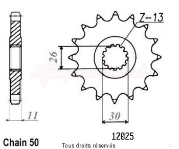 Product image: Sifam - 12025CZ18 - Sprocket Xjr 1300 01-03   12025cz   18 teeth   TYPE : 530
