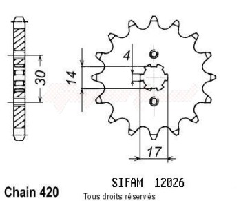 Product image: Sifam - 12026CZ15 - Sprocket Kawa 80 Ae 81-89 80 Rear 88-93 12026cz   15 teeth   TYPE : 420