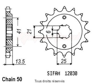 Product image: Sifam - 12030CZ15 - Sprocket Vf 500 Fd 84-85   12030cz   15 teeth   TYPE : 530