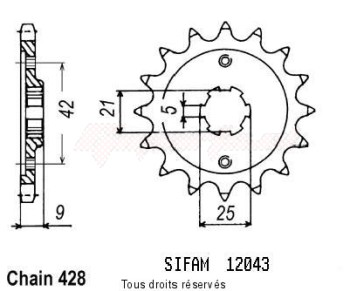 Product image: Sifam - 12043CZ19 - Sprocket Xt 350 85-98   12043cz   19 teeth   TYPE : 428