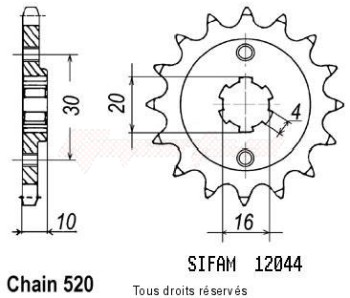 Product image: Sifam - 12044CZ12 - Sprocket Cagiva 125 Aletta ORO   12044cz   12 teeth   TYPE : 520