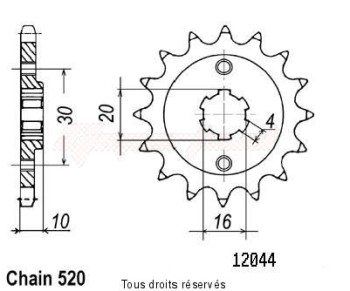 Product image: Sifam - 12044CZ13 - Sprocket Cagica 125 Super City 125 K7 - 125 N90 90-92 12044cz   13 teeth   TYPE : 520