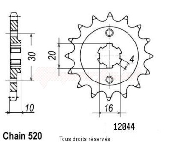 Product image: Sifam - 12044CZ14 - Sprocket front  CA 125 Mito 90-98 14