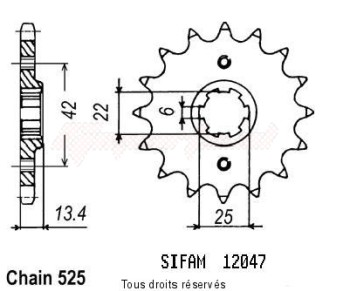 Product image: Sifam - 12047CZ16 - Sprocket Cb 450 Dx 89-92   12047cz   16 teeth   TYPE : 525