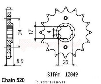 Product image: Sifam - 12049CZ14 - Sprocket Xl 350 R 83-87   12049cz   14 teeth   TYPE : 520