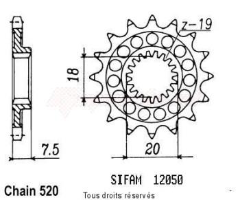 Product image: Sifam - 12050CZ13 - Sprocket Honda 125 Cr 1987-2001 12050cz   13 teeth   TYPE : 520