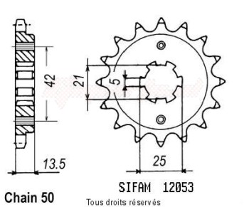 Product image: Sifam - 12053CZ14 - Sprocket Cagiva 350 Elefant 86-8 Cagiva 650 Elefant 86-87 12053cz   14 teeth   TYPE : 530
