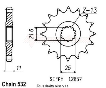 Product image: Sifam - 12057CZ16 - Sprocket Fzr 1000 87-88 532 Yzf 750 R 93-98 12057cz   16 teeth   TYPE : 532