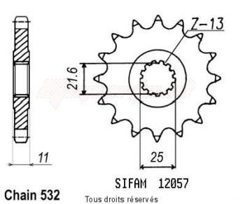 Product image: Sifam - 12057CZ17 - Sprocket Fzr 1000 Exup 89-97 532 Yzf 1000 R Thunder ALight Light bulb 96-97 12057cz   17 teeth   TYPE : 532