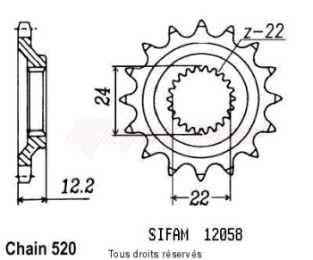 Product image: Sifam - 12058CZ15 - Sprocket 600 Tuareg 85-87   12058cz   15 teeth   TYPE : 520