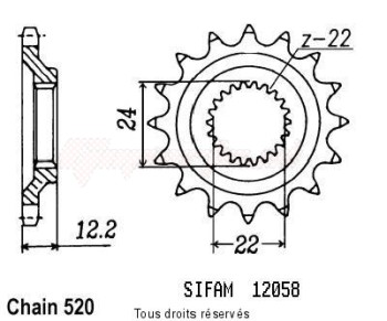 Product image: Sifam - 12058CZ16 - Sprocket 350 Etx Tuareg Wind 88-   12058cz   16 teeth   TYPE : 520