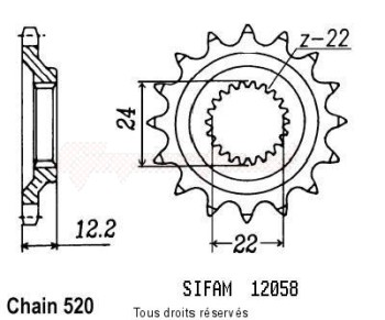 Product image: Sifam - 12058CZ17 - Sprocket Aprilia 600 Pegaso 90-9   12058cz   17 teeth   TYPE : 520