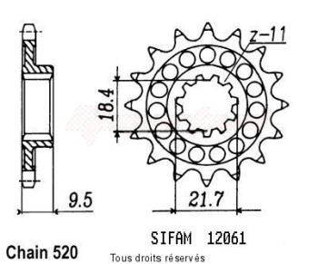 Product image: Sifam - 12061CZ14 - Sprocket Honda 250 Cr 1986/1987 12061cz   14 teeth   TYPE : 520