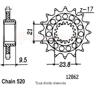 Product image: Sifam - 12062CZ13 - Sprocket Honda 250 Cr 1988-2004 12062cz   13 teeth   TYPE : 520