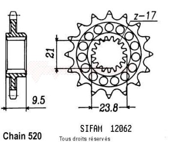 Product image: Sifam - 12062CZ14 - Sprocket Honda 250 Cr 1988-2004 12062cz   14 teeth   TYPE : 520
