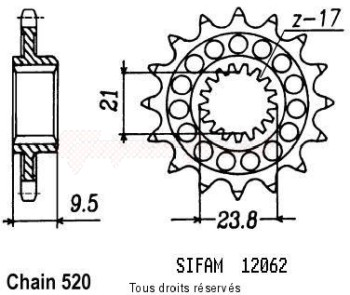 Product image: Sifam - 12062CZ15 - Sprocket Honda 250 Cr 1988-2004 12062cz   15 teeth   TYPE : 520